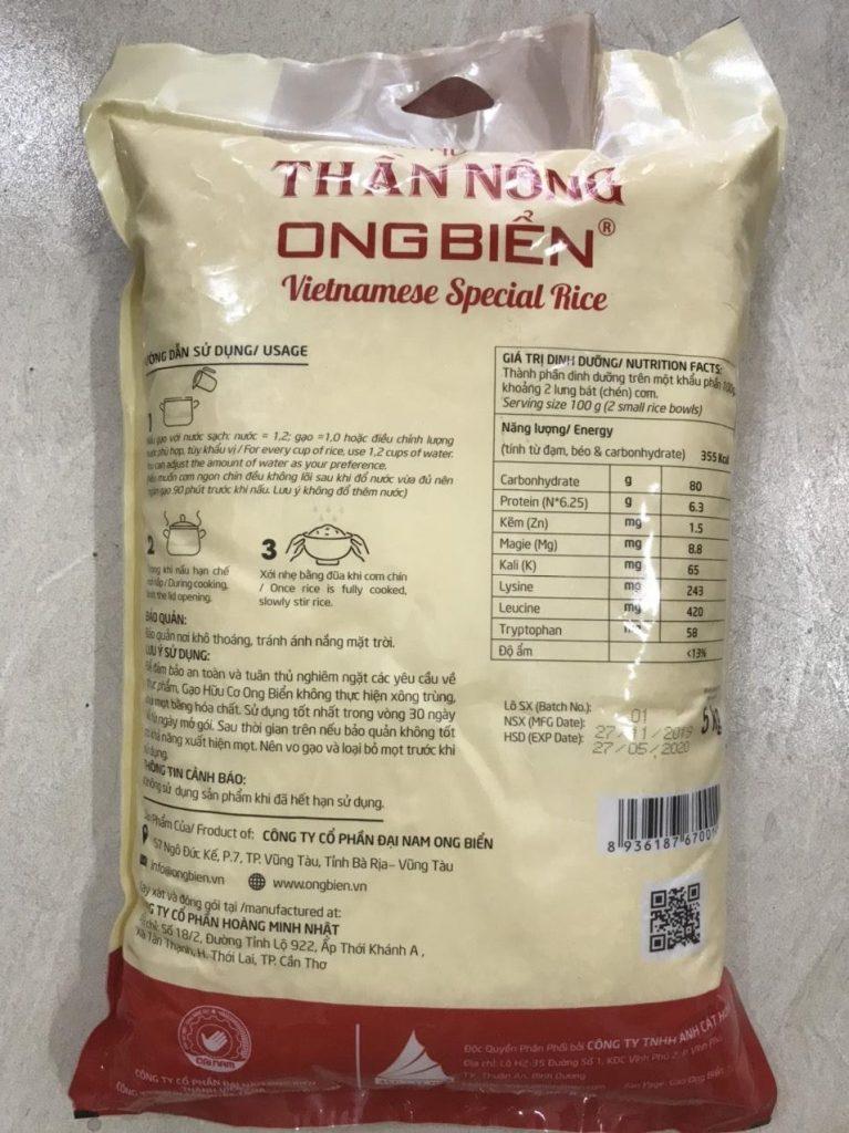Gạo Hữu Cơ Ong Biển